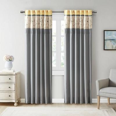 "84""x50"" Monroe Embroidered Room Darkening Curtain Panel Yellow"