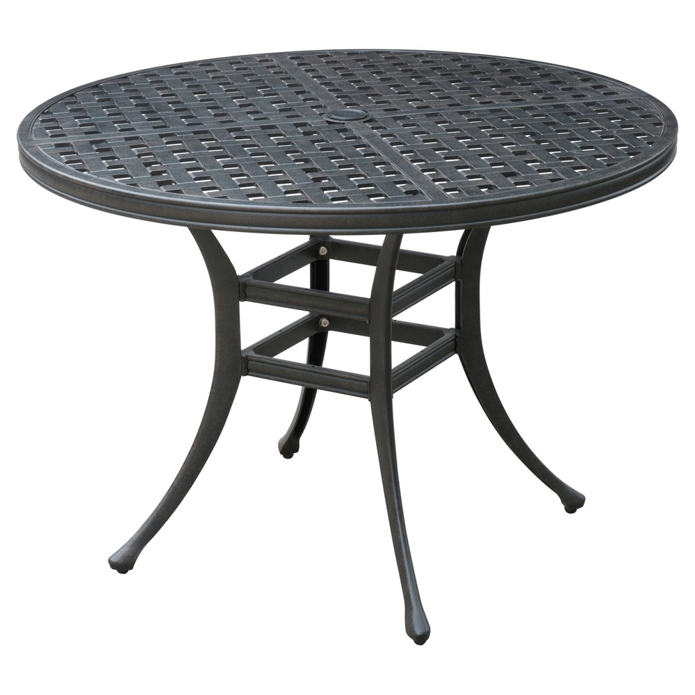 Marley Modern Round Patio Dining Table - Bronze - Furniture of America, Bronze Brown