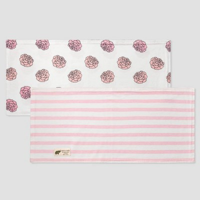 Layette by Monica + Andy Baby Girls' 2pk Organic Cotton Floral and Striped Burp Cloth Set - Pink