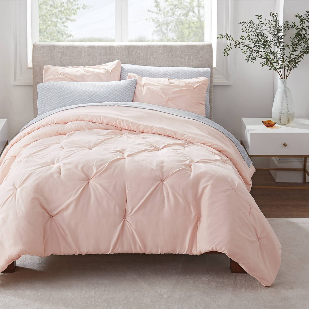 Twin Twin Xl 5pc Simply Clean Pleated Bed In A Bag Blush Serta