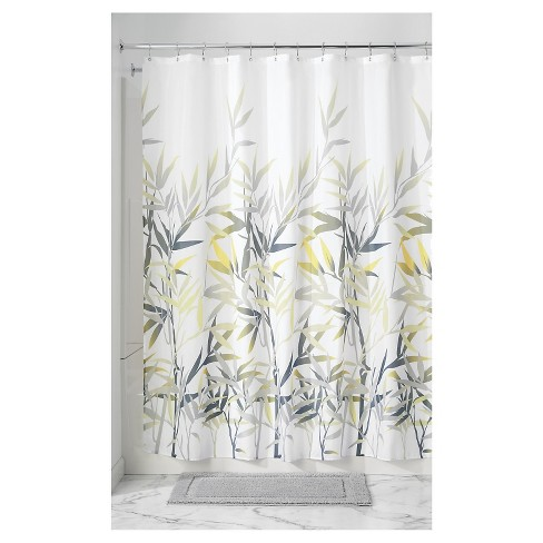 Leaf Shower Curtain Yellow Gray, Gray White And Yellow Shower Curtains