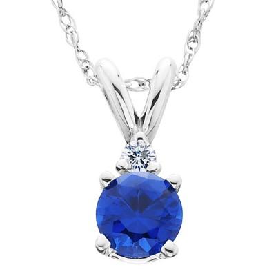 14k Yellow Gold Over 1 Ct Baguette Cut Blue Sapphire Solitaire Pendant Necklace