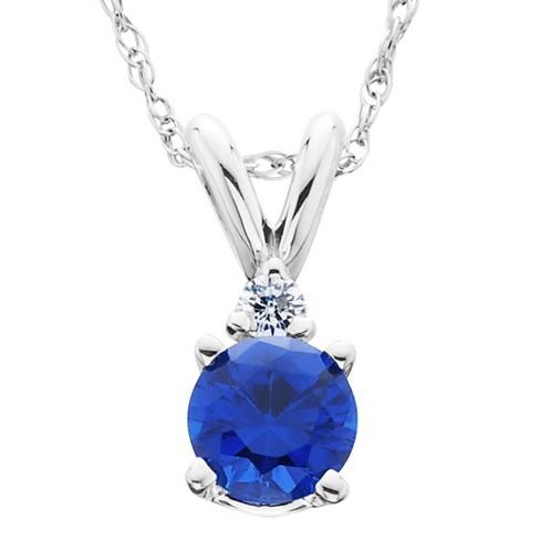 Pompeii3 1ct Blue Sapphire & Diamond Solitaire Pendant 14K White Gold - image 1 of 4