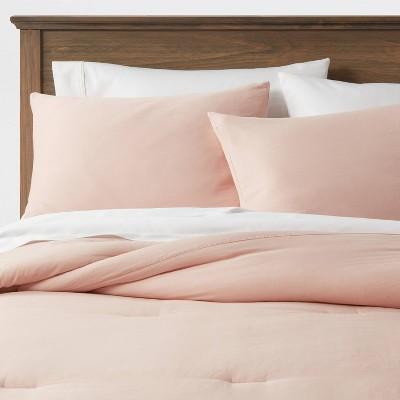 King Washed Cotton Sateen Comforter & Sham Set Blush - Threshold™
