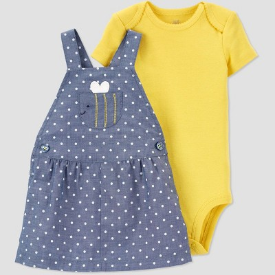 Baby Girls' Bee Chambray Top & Bottom Set - Just One You® made by carter's Blue/Yellow Newborn