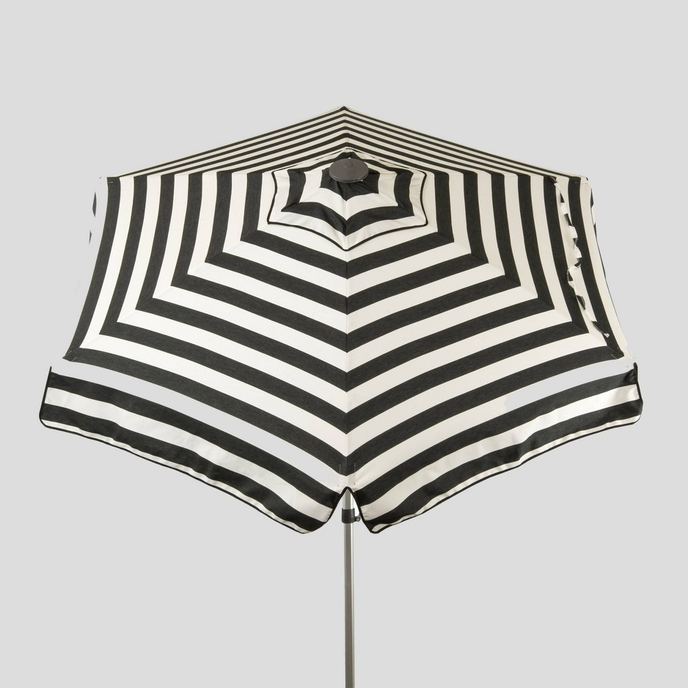 Image of 6.5' Striped Market Umbrella Black/White - Parasol