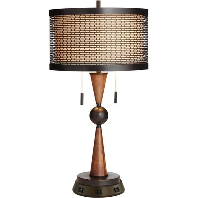 Franklin Iron Works Rustic Farmhouse Table Lamp with USB Outlet Workstation Base Antique Bronze Wood Double Drum Shade Living Room