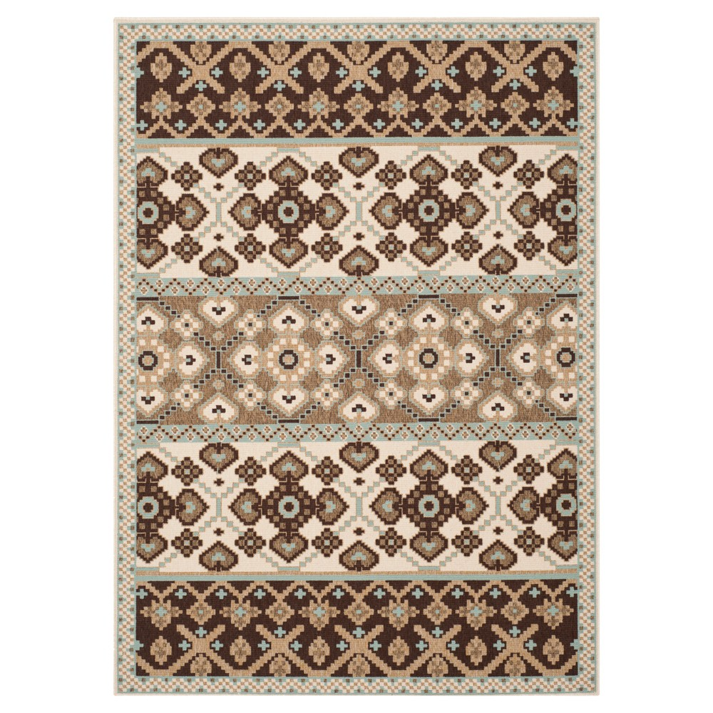Almira Indoor/Outdoor Area Rug - Cream/Chocolate (Ivory/Brown) (5'3