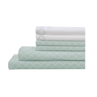 Queen 6pc Microfiber Embroidered Revina Printed Bonus Sheet Set Spa Blue - Elite Home Products