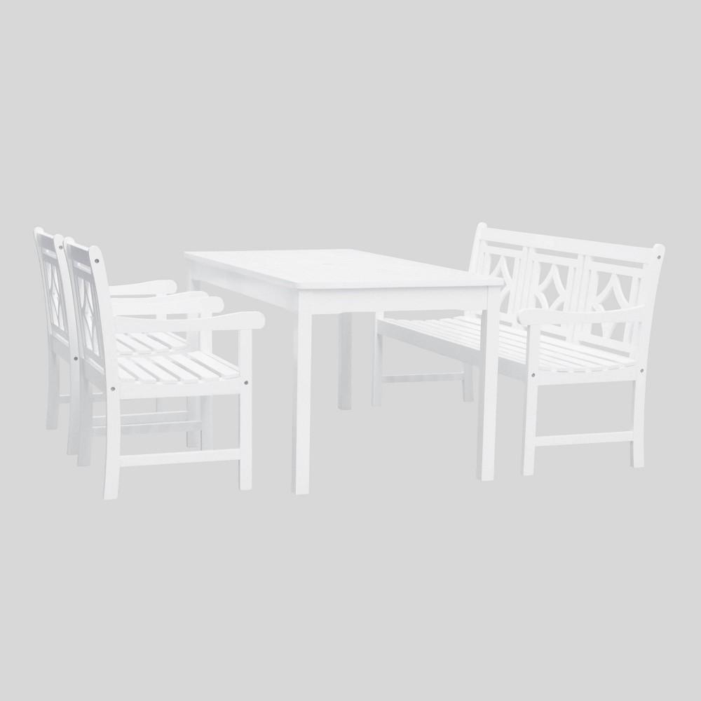 Bradley 4pc Rectangle Wood Outdoor Patio Dining Set - White - Vifah