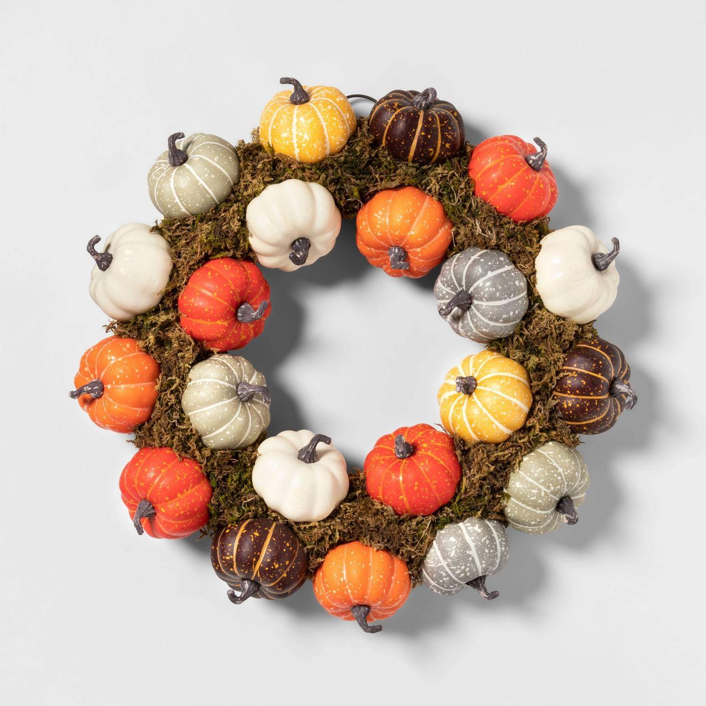 Harvest Pumpkin Decorative Wreath - Spritz™ - image 1 of 1