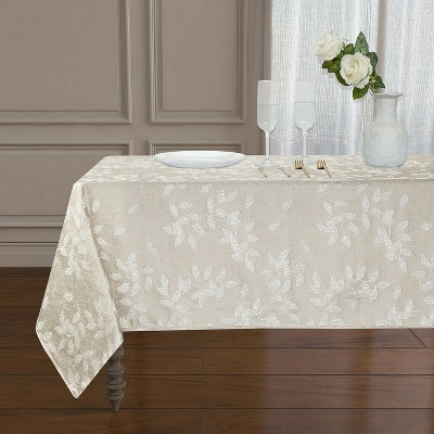 Kate Aurora Living Raised Jacquard Floral Leaves Spill Proof Fabric Tablecloth