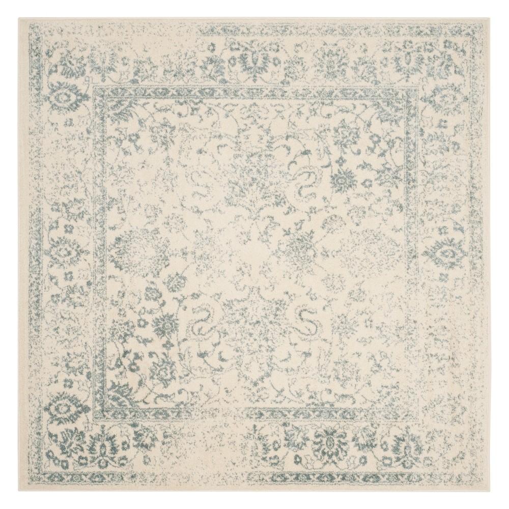 6'X6' Spacedye Design Square Area Rug Ivory/Slate (Ivory/Grey) - Safavieh