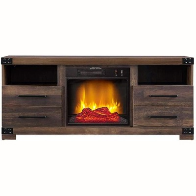 HearthPro Perry Electric Fireplace TV Stand in Rustic Brown - SP6543-OF