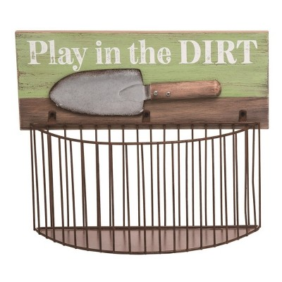 Transpac Metal 11 in. Multicolor Spring Play in the Dirt Garden Tool Holder Wall Mount Basket
