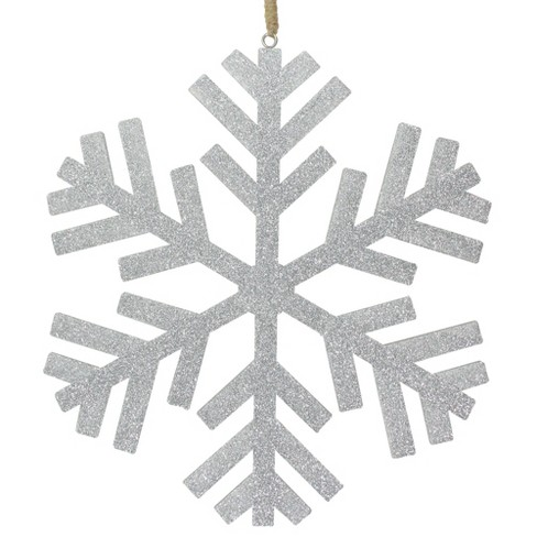 Northlight 11 75 Silver Glitter Drenched Snowflake Hanging Christmas Ornament Target