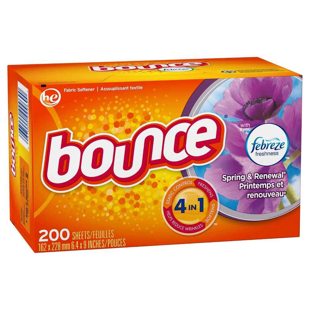 Bounce With Febreze Spring & Renewal Dryer Sheets - 200ct
