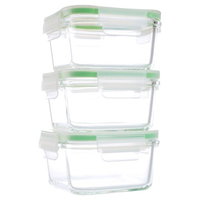 Kinetic GoGreen Glassworks 6-Piece Square Oven Safe Glass Food Storage Container Set with Lid; 15 oz.