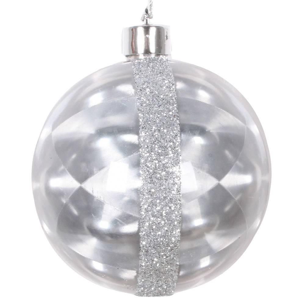 """Image of """"6ct Vickerman 3"""""""" Glitter Reflector Ornament Set Silver"""""""