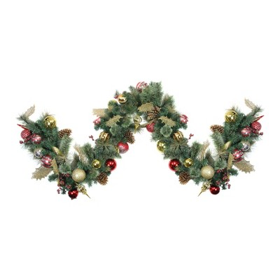 Christmas Artificial Wreath with Cones Balls Parcels and Fruit