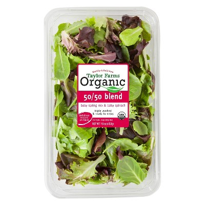 Taylor Farms Organic 50/50 Blend Baby Spring Mix & Baby Spinach - 16oz Package
