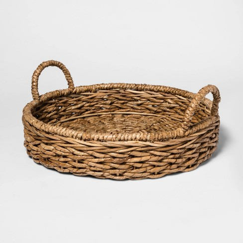 Chunky Seagrass Woven Serving Tray Beige - Threshold™ - image 1 of 2