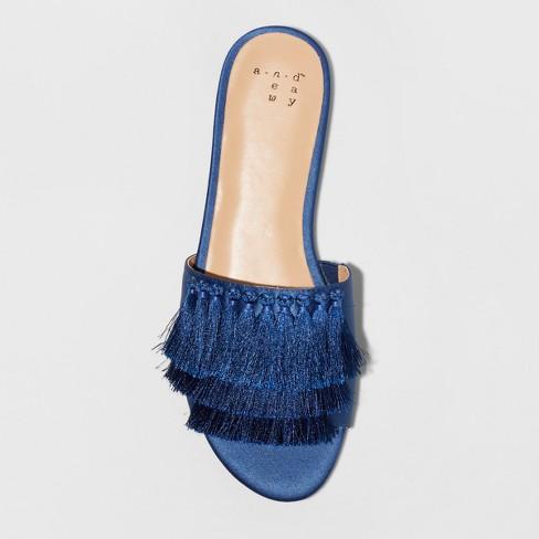 e159109d9b3f Women s Benetta Wide Width Tassle Slide Sandals - A New Day™ Navy 8W    Target