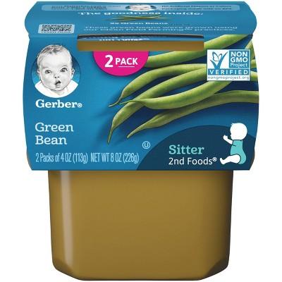 Gerber Sitter 2nd Foods Green Bean Baby Meals Tubs - 2ct/4oz Each