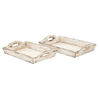 Farmhouse Rustic Wood Tray Set White 2pk - Olivia & May