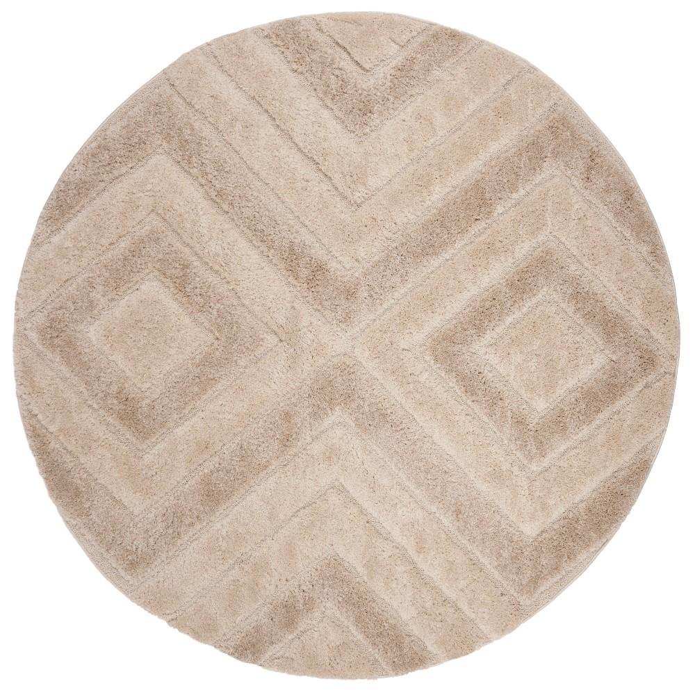 67 Geometric Loomed Round Area Rug Beige/Light Gray - Safavieh Top