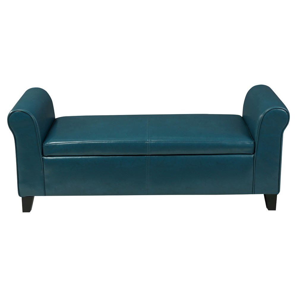 Torino Faux Leather Armed Storage Ottoman Bench Teal (Blue) - Christopher Knight Home
