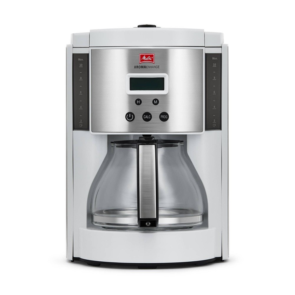 Image of Melitta Aroma Enhance Coffee Maker Glass Carafe 10-cup, White