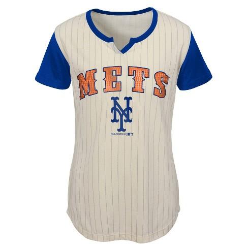 on sale 43b7b b3b83 MLB New York Mets Girls' In the Game Cream Pinstripe T-Shirt