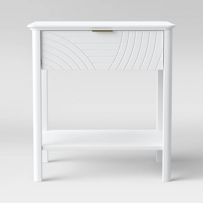 Elissa Carved Accent Table with Drawer White - Opalhouse™