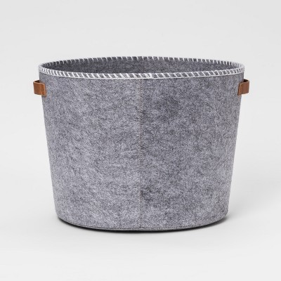 Felt Round Large Storage Bin Gray - Pillowfort™