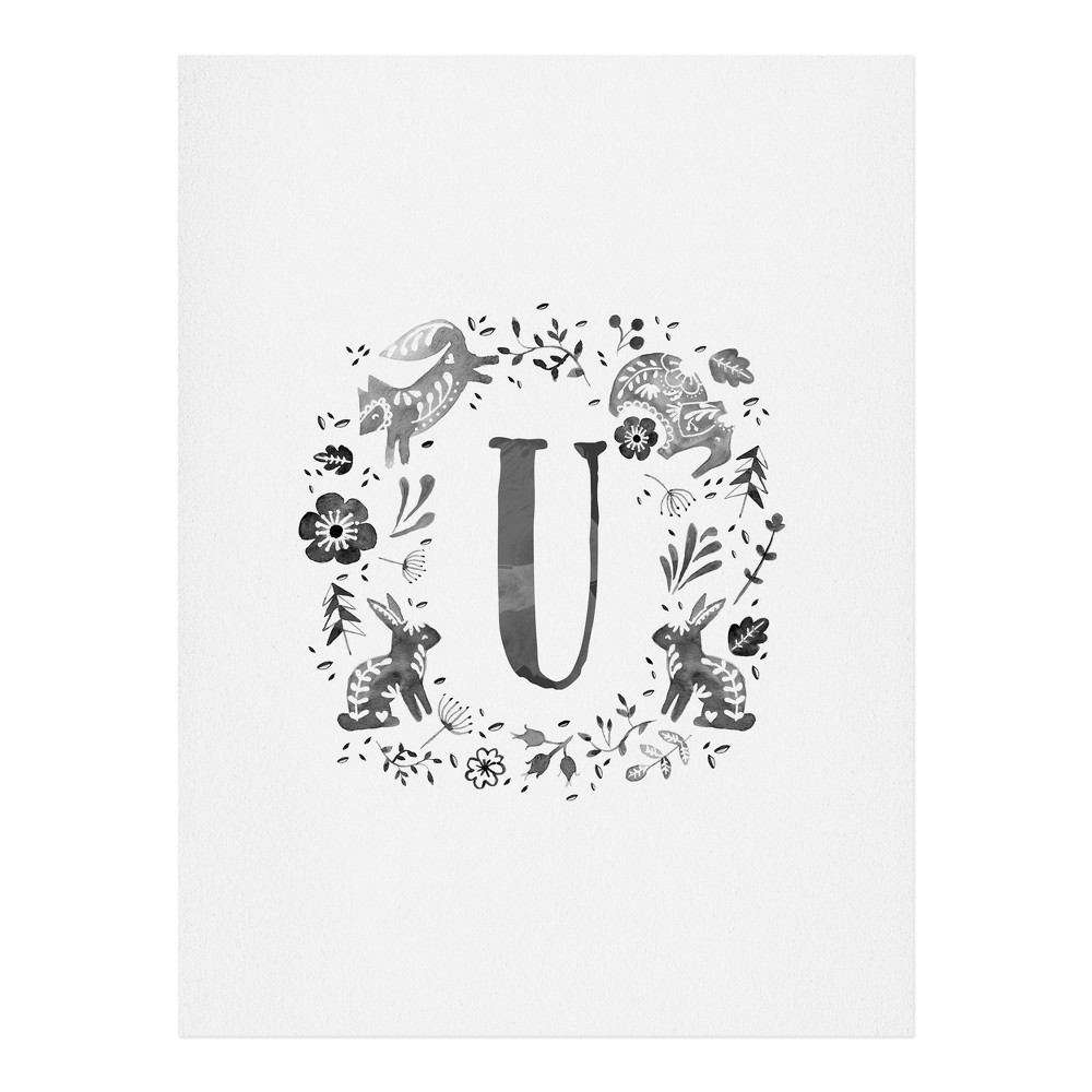 "Image of ""11""""x14"""" Wonder Forest Folky Forest Monogram Letter """"U"""" Art Print Unframed Wall Poster Gray - Deny Designs"""