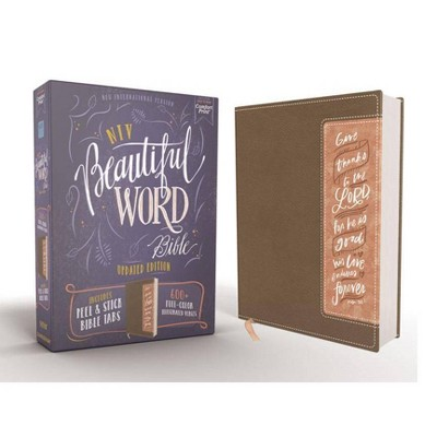 Niv, Beautiful Word Bible, Updated Edition, Peel/Stick Bible Tabs, Leathersoft, Brown/Pink, Red Letter, Comfort Print - by  Zondervan (Leather Bound)