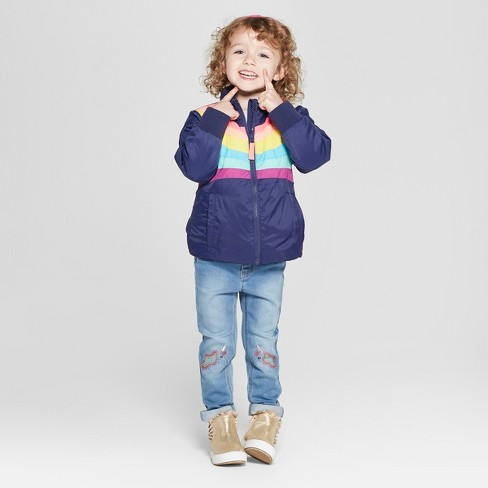 a24c4ba6001e Toddler Girls  Rainbow Midweight Puffer Jacket - Cat   Jack™ Navy   Target