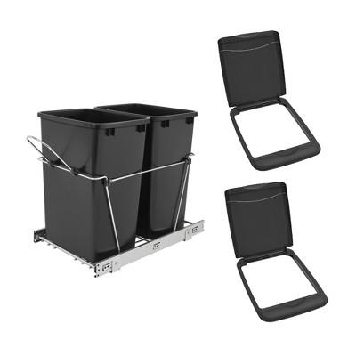 Rev-A-Shelf Double 35 Quart Sliding Pull-Out Waste Bin & Waste Bin Lid (2 Pack)