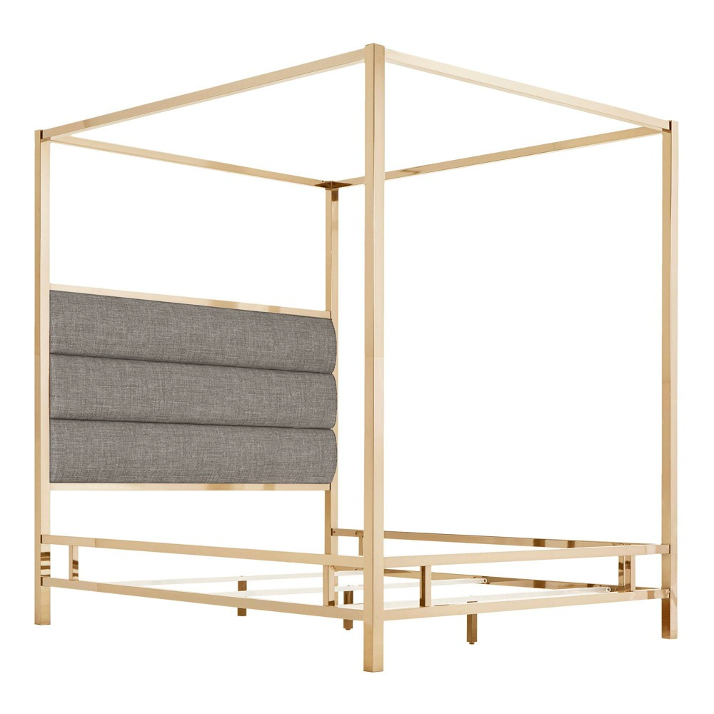 Full Manhattan Champagne Gold Canopy Bed with Horizontal Panel Headboard Smoke (Grey) - Inspire Q