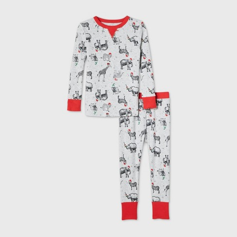 Toddler Holiday Safari Animal Print Matching Family Pajama Set - Wondershop™ Gray - image 1 of 2