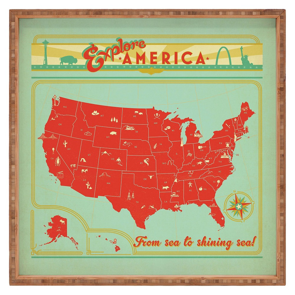 Image of Anderson Design Group Explore America Square Tray - Red - Deny Designs, Red Green