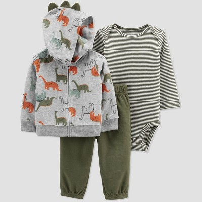 Baby Boys' Dino Hoodie Top & Bottom Set - Just One You® made by carter's Olive 6M