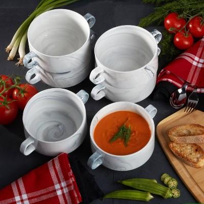 26oz 6pk Porcelain Marble Soup Bowls White - Certified International