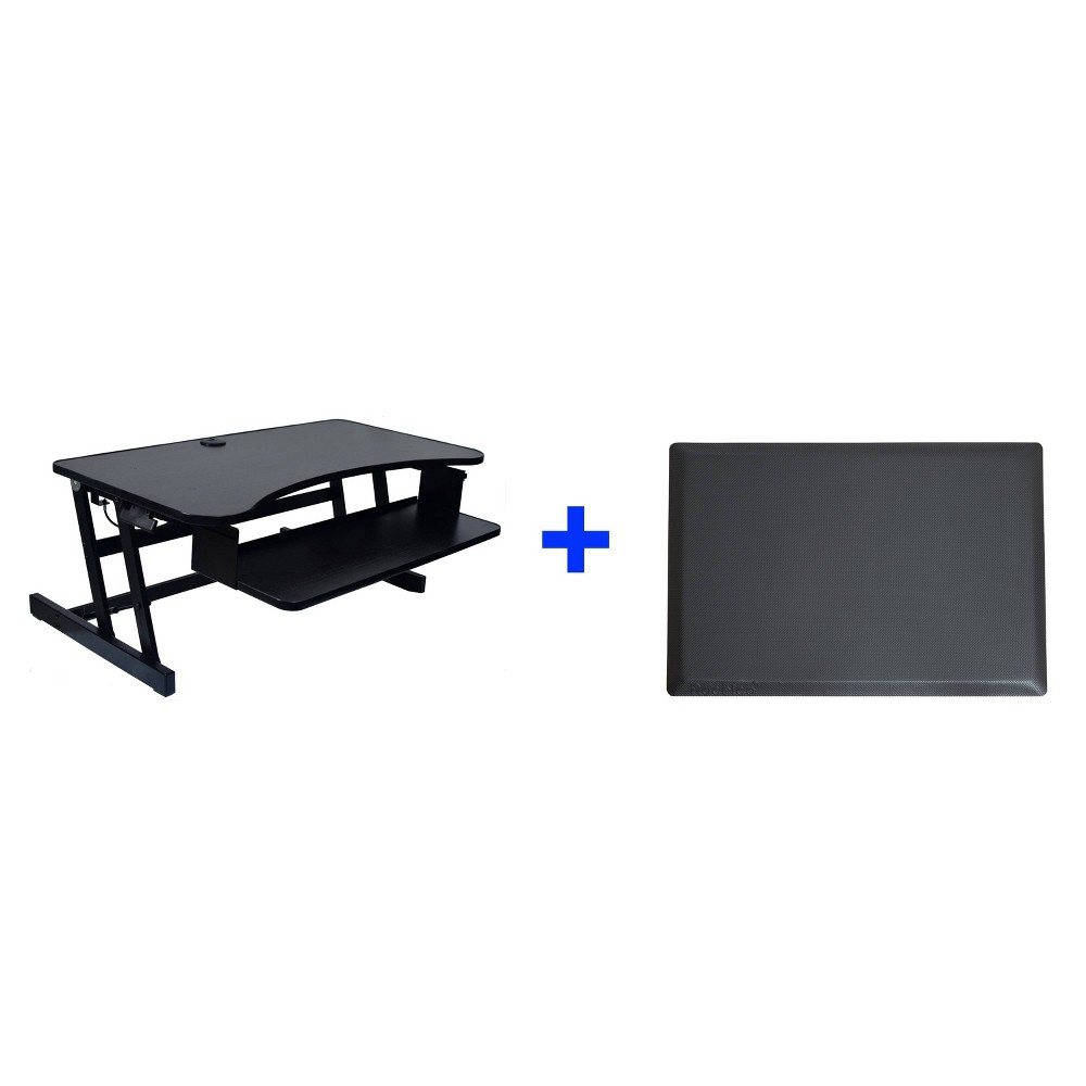Deluxe Height Adjustable Computer Riser with Mat, Black
