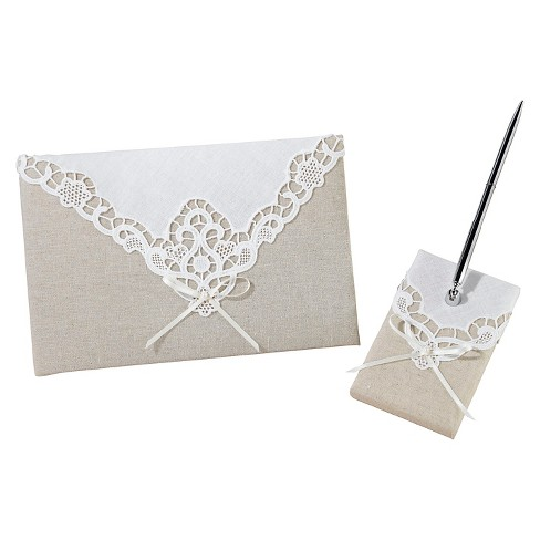 Country Lace Guest Book with Pen Set - image 1 of 1