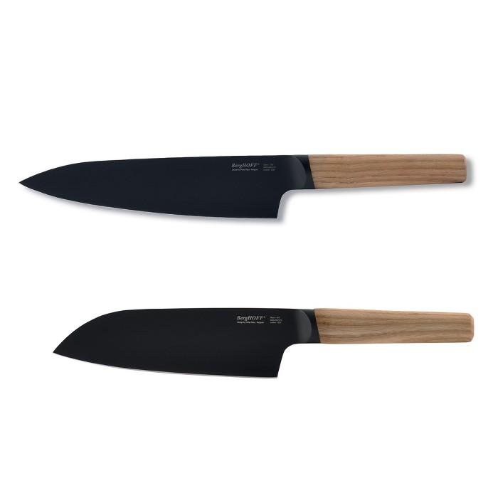 "BergHOFF Ron 2Pc Cutlery Set, 7.5"" Chef's & 6"" Santoku, Natural : Target"