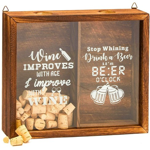 """Juvale 13"""" x 11"""" Wood Shadow Box Frame - Shadow Box Display Case with Hanging Hooks for Wine Cork & Beer Cap Collection - image 1 of 4"""