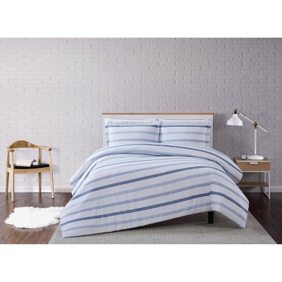 Waffle Stripe Duvet Cover Set Blue/White - Truly Soft