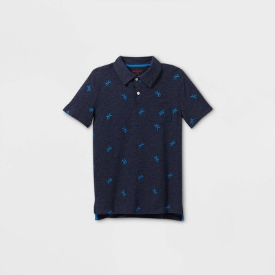 Boys' Short Sleeve Knit Polo Shirt - Cat & Jack™ Navy